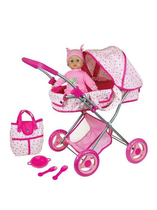 Doll Pram & 13inch - 33cms Baby Doll Gift Set