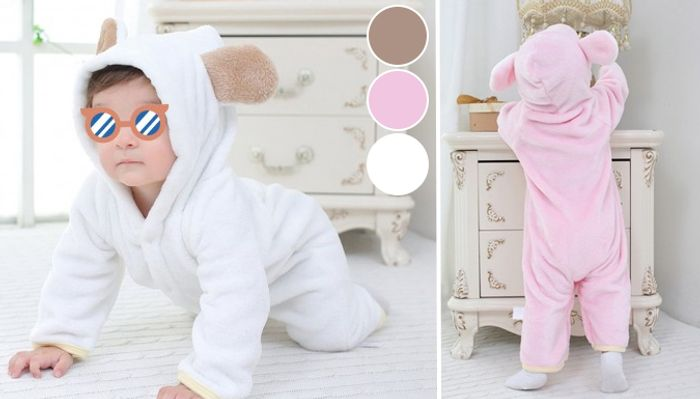 Hooded Flannel Baby Bear Romper - 3 Colours
