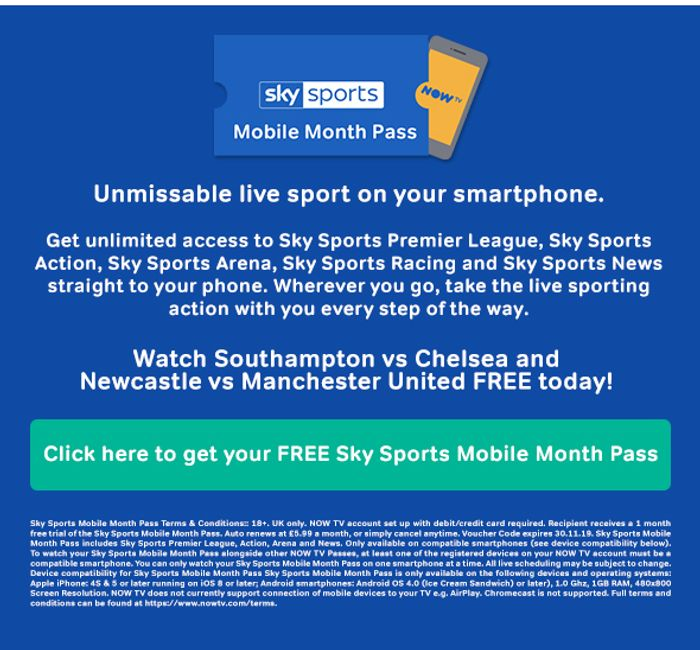 Free One Month Mobile Sport or Film Pass from Nowtv for Simply Games Customers