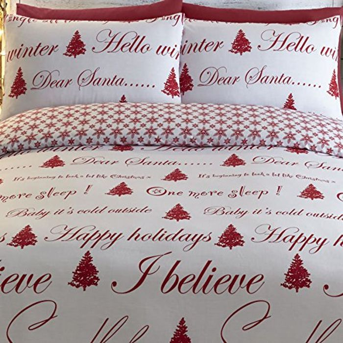 It's Christmas Duvet Cover and Pillowcase Set, Red, Single