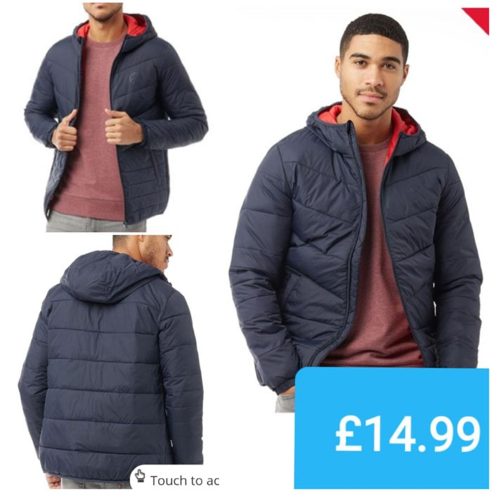JACK and JONES Mens Jorband Light Puffer Jacket Total Eclipse