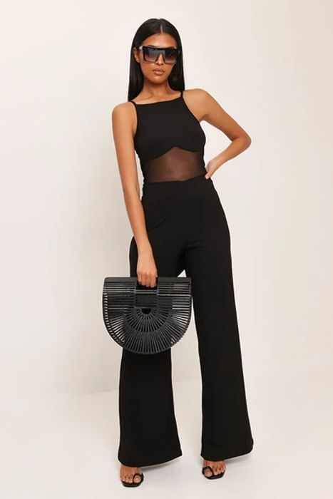 Black Square Neck Tie Waist Ribbed Jumpsuit