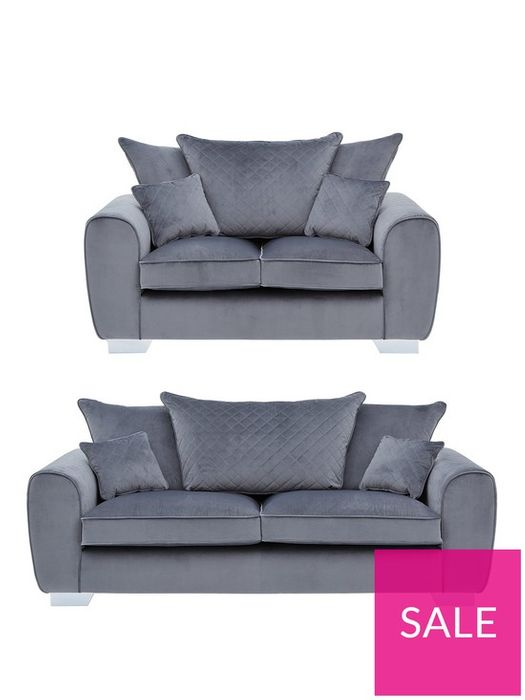 *SAVE £1000* Vibe Fabric 3 Seater + 2 Seater Scatter Back Sofa