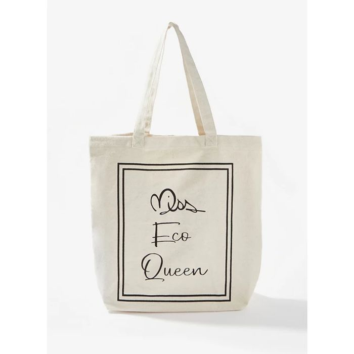 Miss Selfridge Ivory Miss Eco Queen Slogan Shopper Bag - save £0.70