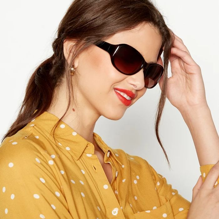 Beach Collection Brown Rectangle Sunglasses - HALF PRICE: Save £3
