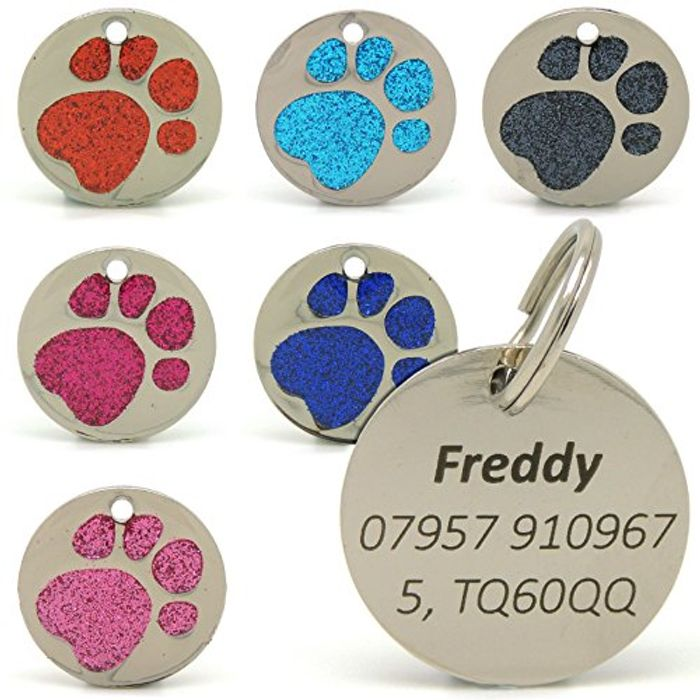 Personalised Engraved 25mm Glitter Paw Print Tag