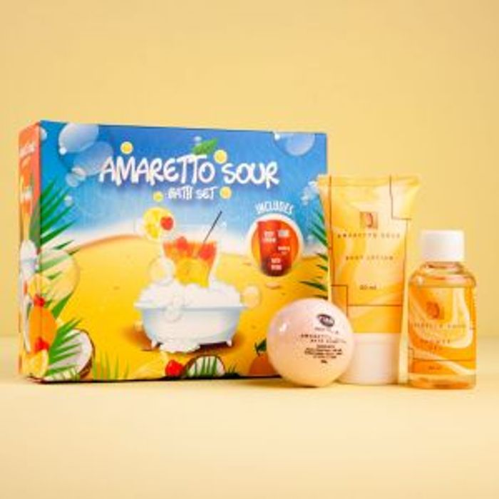 Cheap Amaretto Sour Bath Gift Set Bath Bomb Shower Gel Body Lotion - Save £11