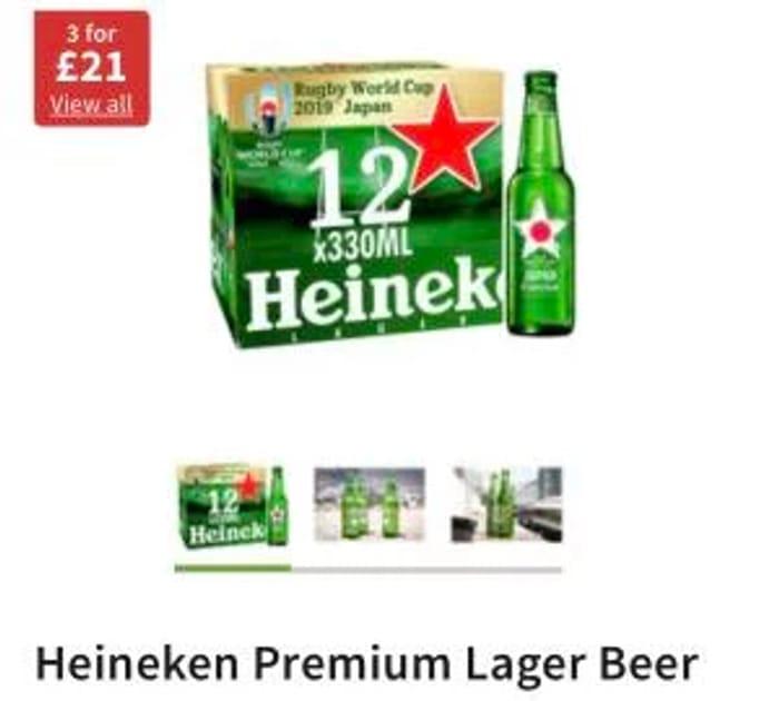 Heineken Premium Lager Beer 12x330 3 for £21
