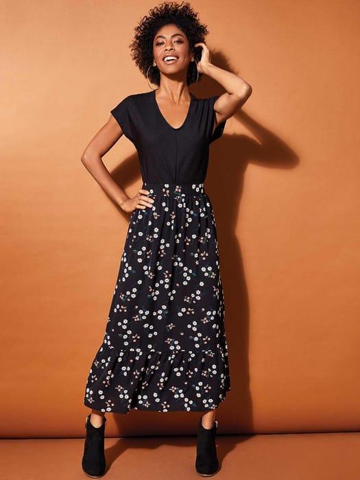 Womens Black Floral Ruffle Skirt