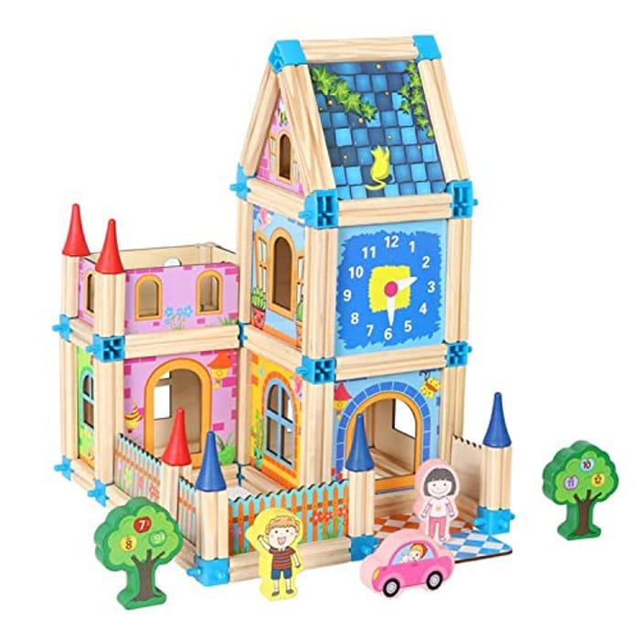 Jacootoys Wooden Dollhouse DIY House Kit