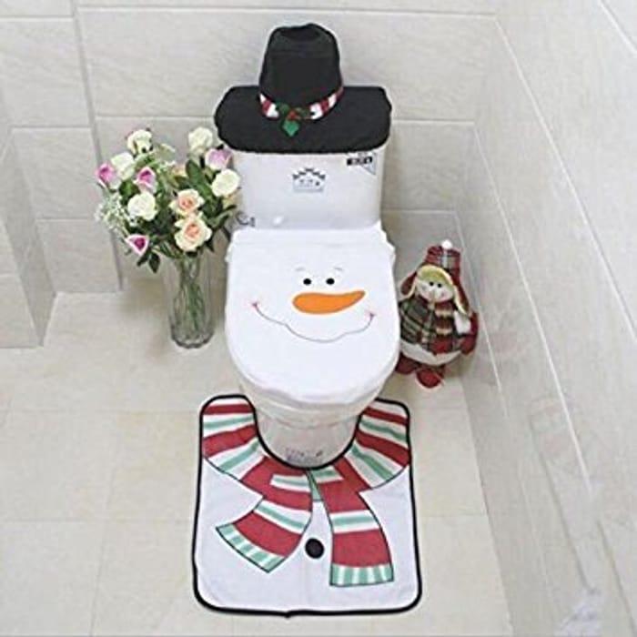 Best price Starmo Christmas Decoration Toilet Set Rug & Tissue Box Cover Set