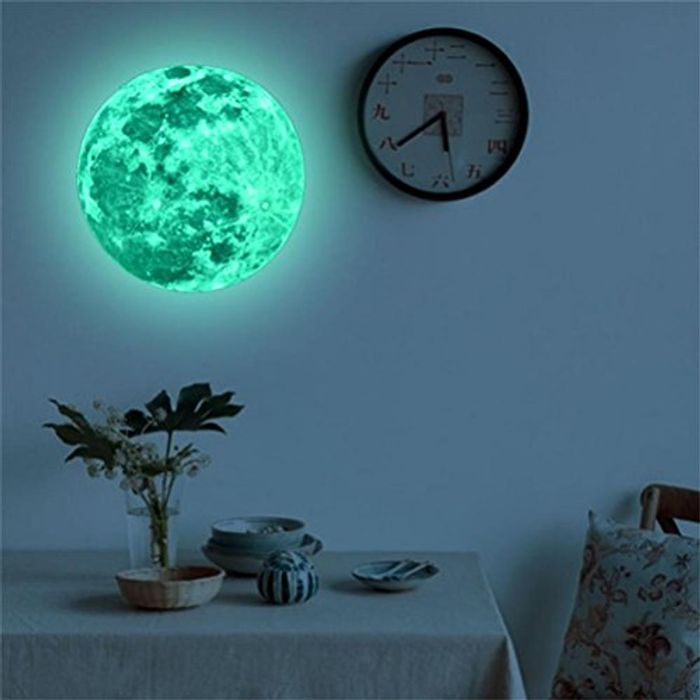 20cm Glow in the Dark Moon Planet Wall Sticker