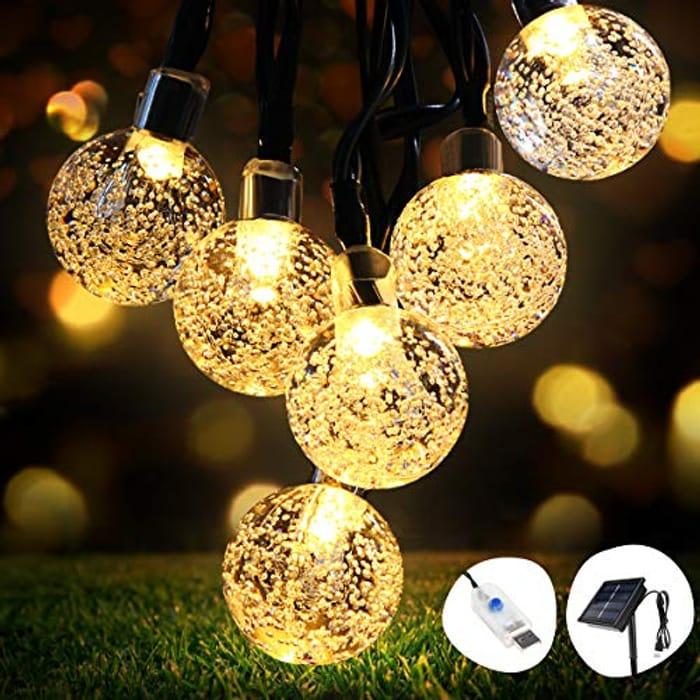 Solar String Lights 26ft 50LEDs Ball Fairy Lights Extra USB Plug Powered