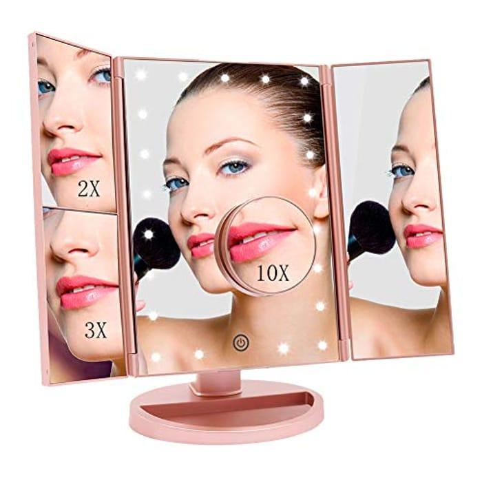 Deal Stack - Tri Fold Illuminated Make Up Mirror £9.39