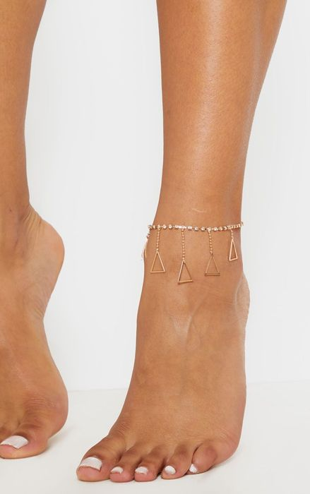 Gold Dainty Diamante Anklet with Triangle Charm Drops