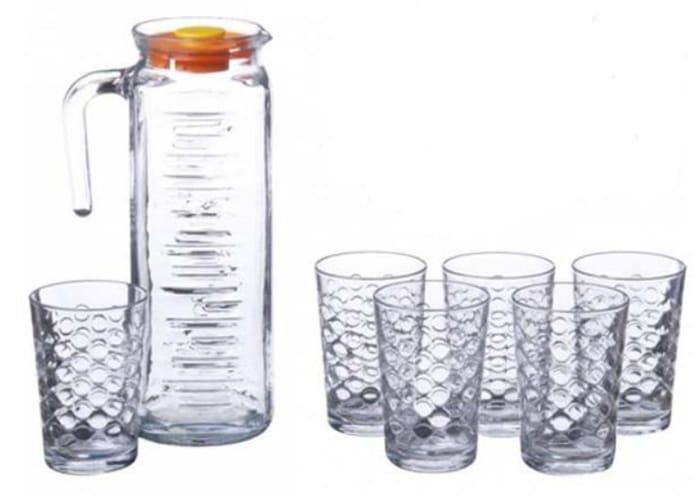 Set of 6 Glasses and Pitcher Jug 1.2L