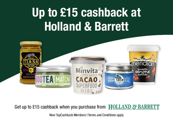 Free Holland and Barrett Products up to £15 after Cashback