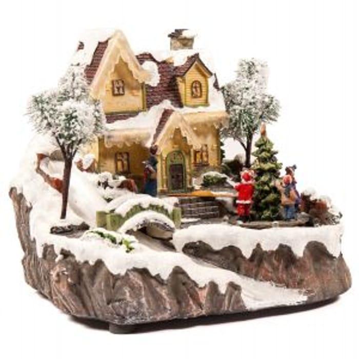 Fibre Optic Winter Festive House Christmas Setting Ornament Decoration