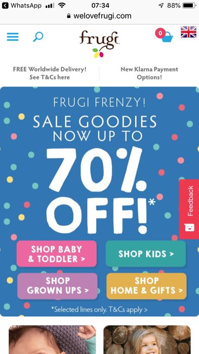 Up to 70% off in the Frugi Sale
