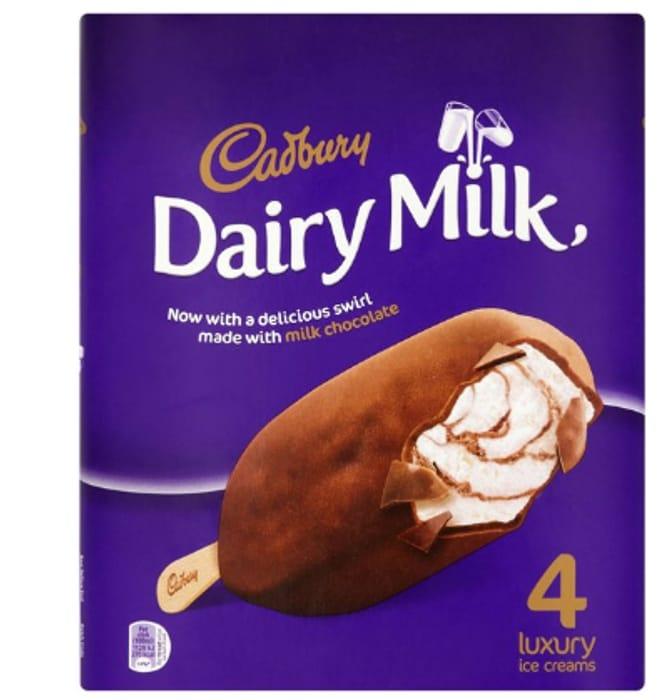 Cadbury Dairy Milk Ice Cream 4 X 100ml with 50% Discount - Great buy!
