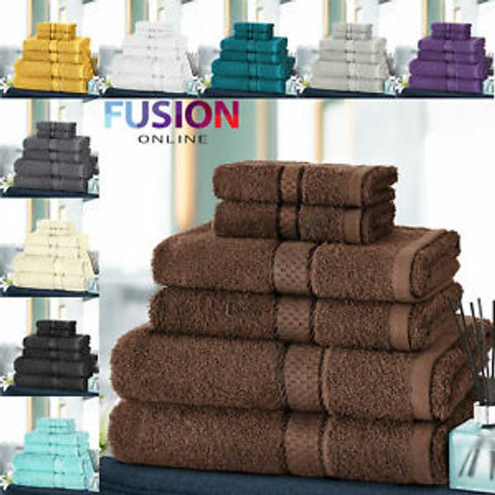 6 Piece 100% Egyptian Cotton Towel Sets £10.49 Delivered - 10 Colours