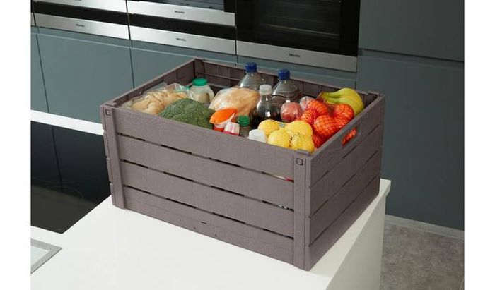 Strata 60 Litre Wood Effect Folding Crate - Taupe Only £7.49