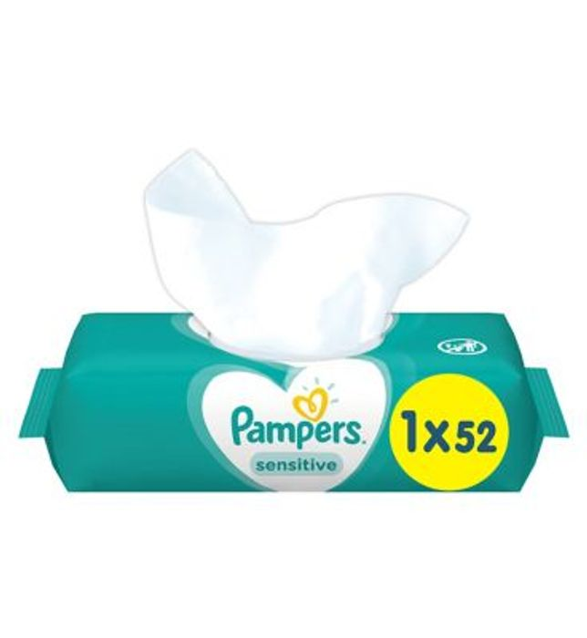 Best Price Pampers Sensitive Baby Wipes, Single Pack = 52 Wipes Only £0.9