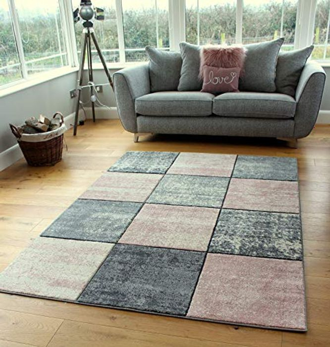 Cheap Small Large Blush Baby Pink Rose Silver Cream Rug Only £16.95!
