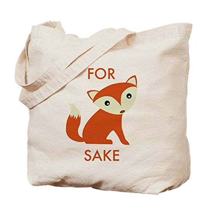 CafePress - for Fox Sake - Natural Canvas Tote Bag, Cloth Shopping Bag