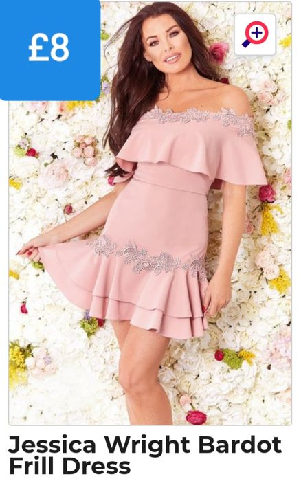 Jessica Wright Bardot Frill Dress in Size 10 (Size 8 + Size 12 Have Low Stock)