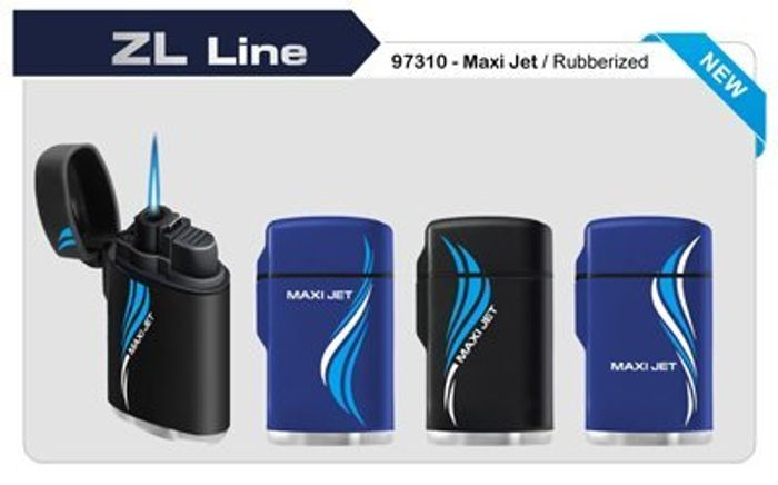 Rubber Maxi Jet Zenga Lighter, Windproof Lighter BLUE FREE Delivery