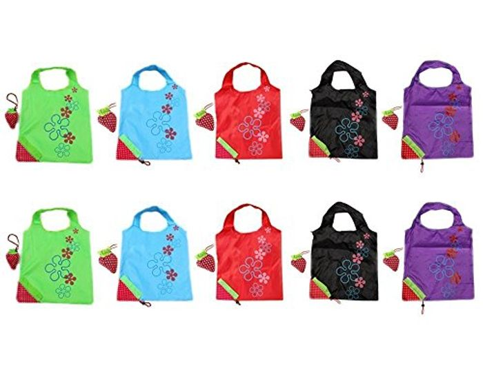 10 Pack Strawberry Reusable Foldable Shopping ECO Bags with Pouch FREE DELIVERY