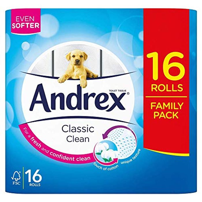 16 Andrex Classic Clean Toilet Rolls (Amazon Pantry) - 27% Off!