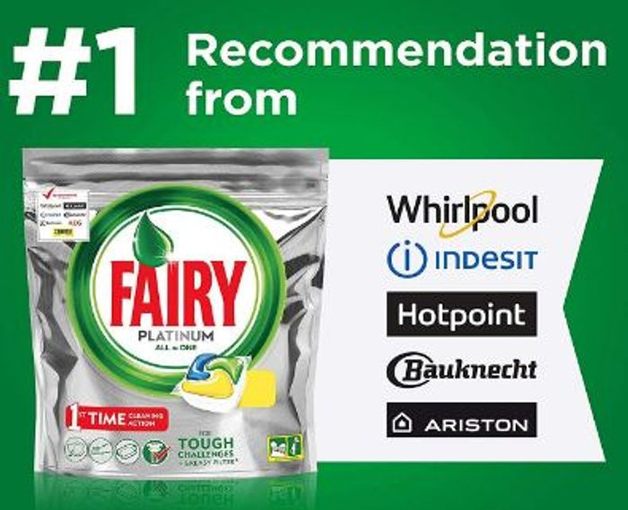 Fairy All-in-One Platinum Dishwasher Tablets Lemon, 70 Tablets - 60% Off!