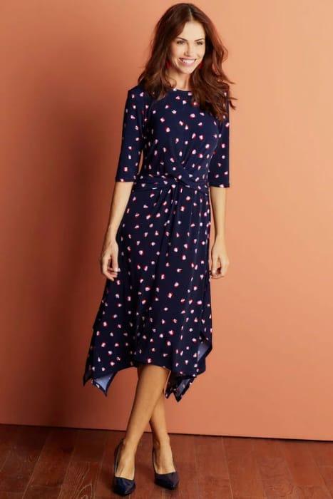 Cheap Printed Hanky Hem Dress - Save £11
