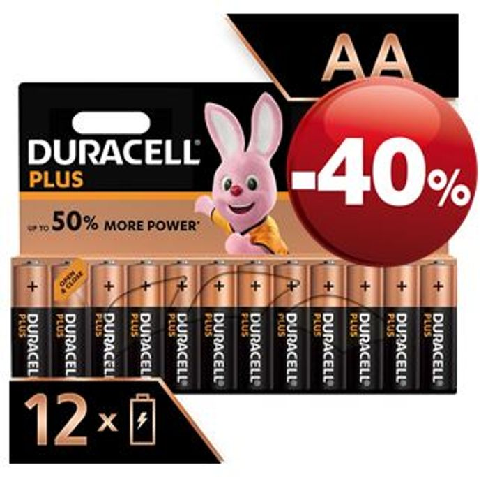 SAVE £4 - Duracell plus AA Alkaline Batteries, Pack of 12
