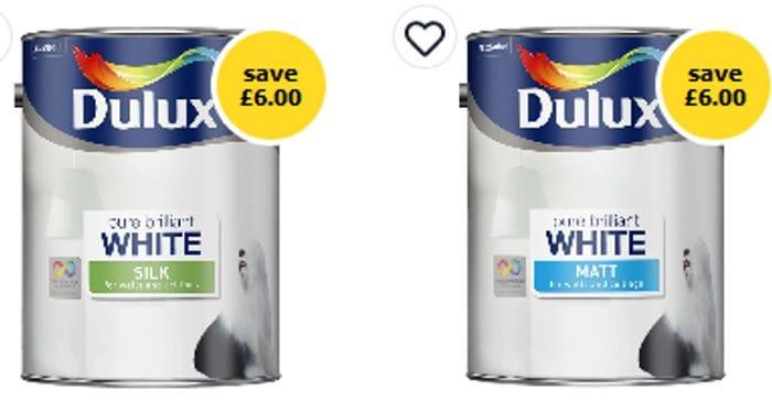 Dulux Matt or Silk Emulsion Paint Pure Brilliant White 5L