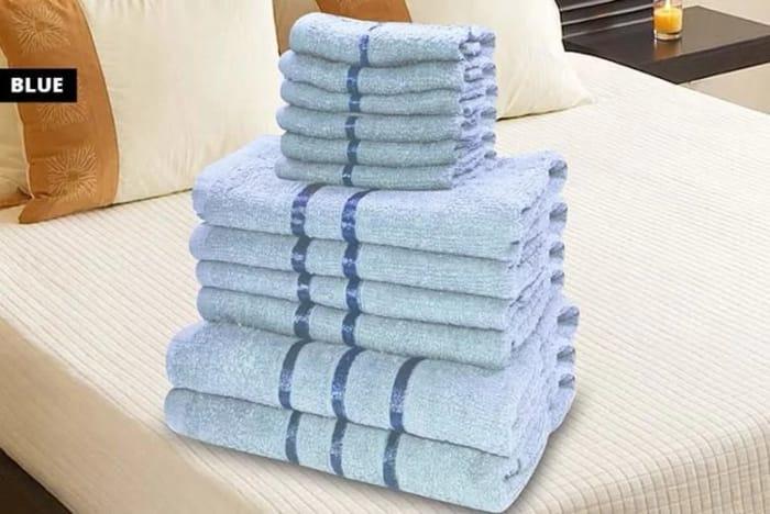 12pc 100% Cotton Satin Stripe Bathroom Towel Bale Set - 11 Colours!