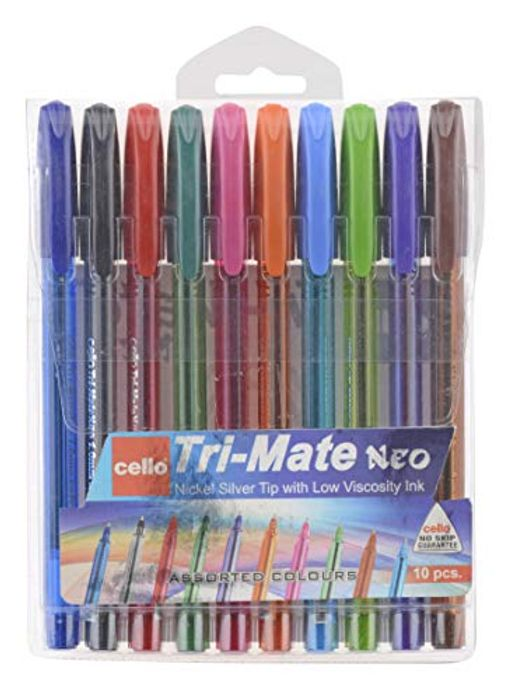 Cello Tri-Mate NEO 1.00mm Assorted Colors - Pack of 10