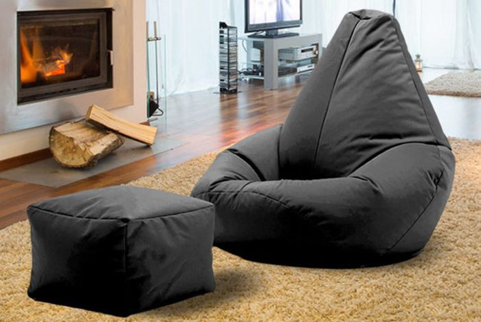 Highback Beanbag with Matching Foot Stool in 11 Colours