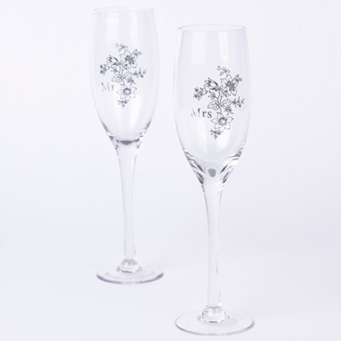 Wedding His & Hers Champagne Glass Set