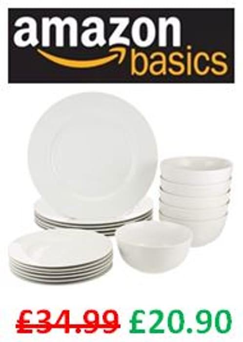 Price Drop! AMAZON BASICS 18-Piece Dinnerware Set - 40% Off!
