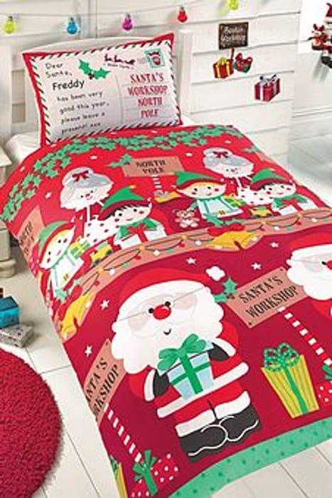 Personalised Santas Workshop Single Duvet Cover