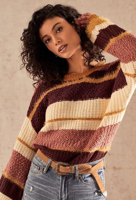 Mix Stitch Stripe Sweater at Justfab