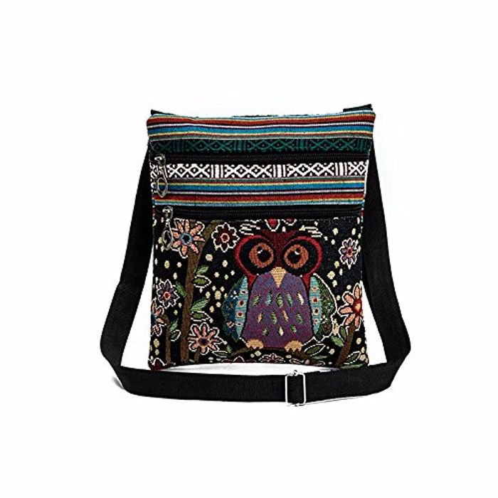 Embroidered Owl Print Tote Bag