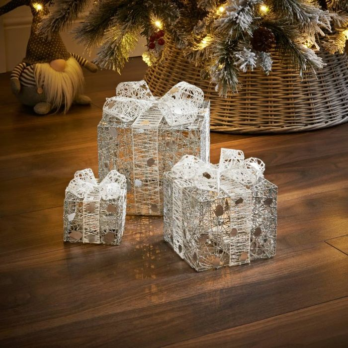 Light up Christmas Presents - Silver