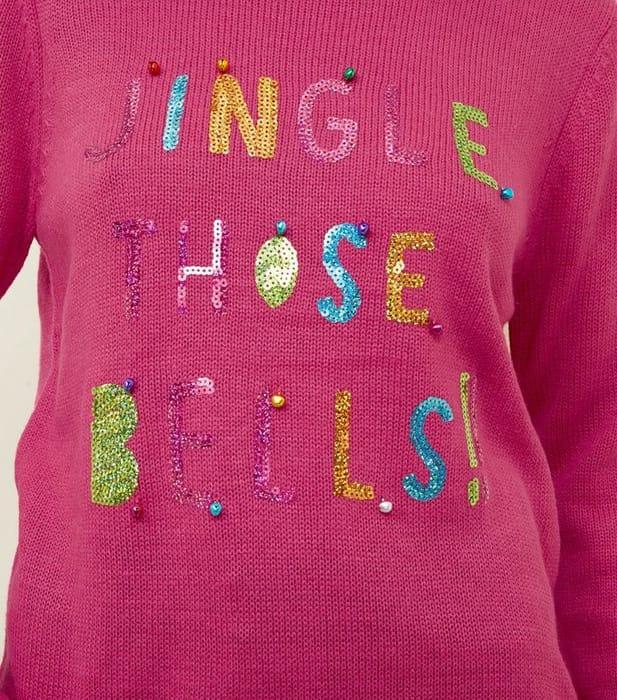 Bright Pink Sequin Jingle Slogan Jumper Small & Medium Available