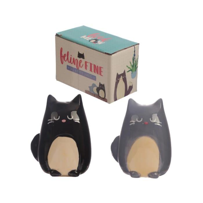 Feline Fine Black & Grey Salt & Pepper Set
