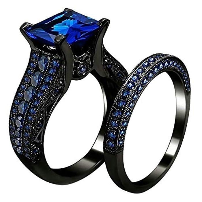 2Pcs/Set Exquisite Romantic Stylish Square Cubic Zirconia Rings