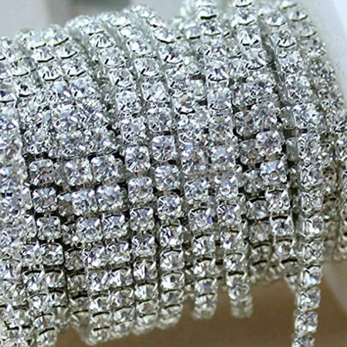 Crystal Rhinestone 2 Row Close Chain Clear Trims 1 Yard
